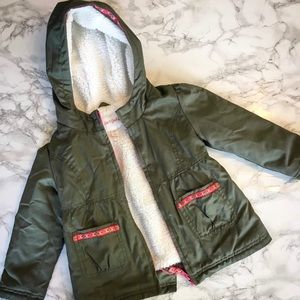 Olive Jacket with Sherpa Lining and Boho Trim